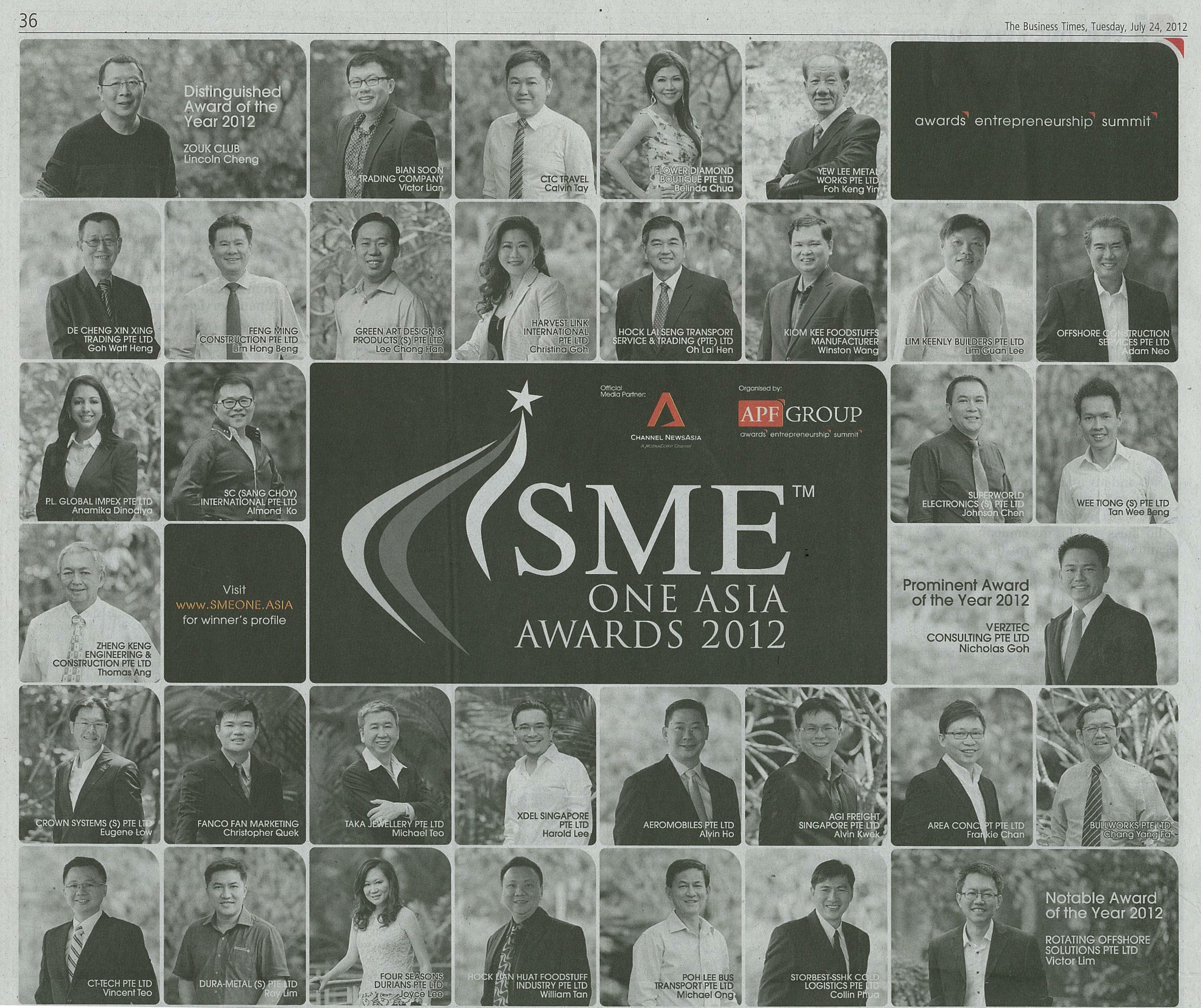 SME ONE ASIA AWARDS 2012